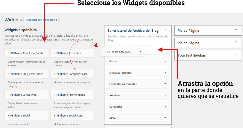 Insertar Widget en WordPress